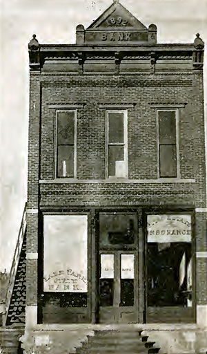 The first brick building in Lake Park was the State Savings Bank, built in 1892.