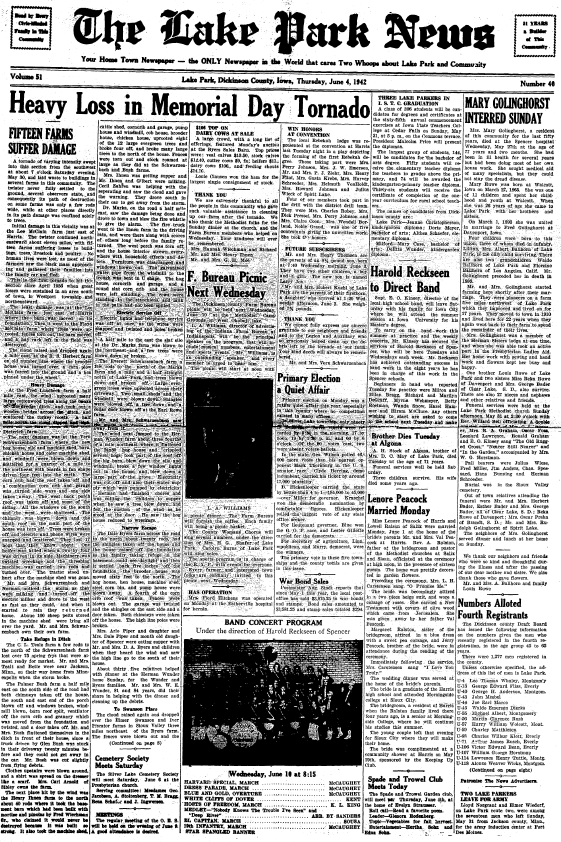 The front page of the June 4, 1942, edition of the Lake Park News.