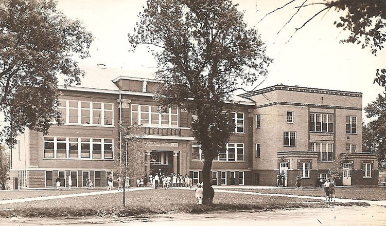The original high school building completed in 1904 with the addition.